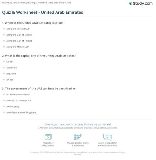 small resolution of Quiz \u0026 Worksheet - United Arab Emirates   Study.com