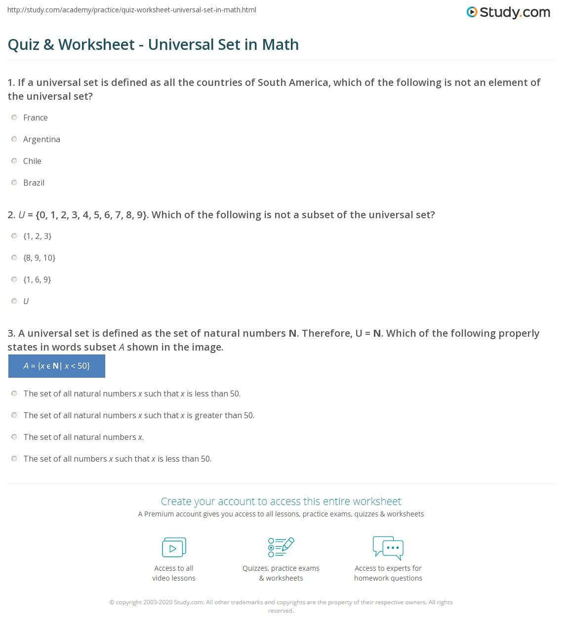 hight resolution of Quiz \u0026 Worksheet - Universal Set in Math   Study.com