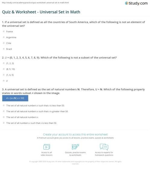 small resolution of Quiz \u0026 Worksheet - Universal Set in Math   Study.com