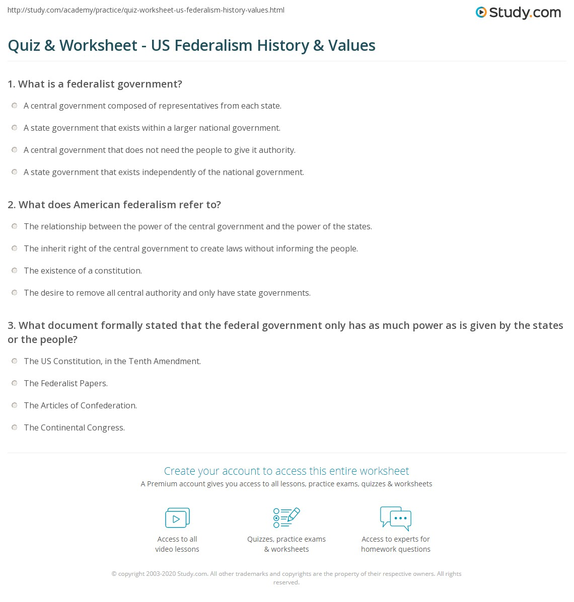 Worksheet Federalism Answer Key