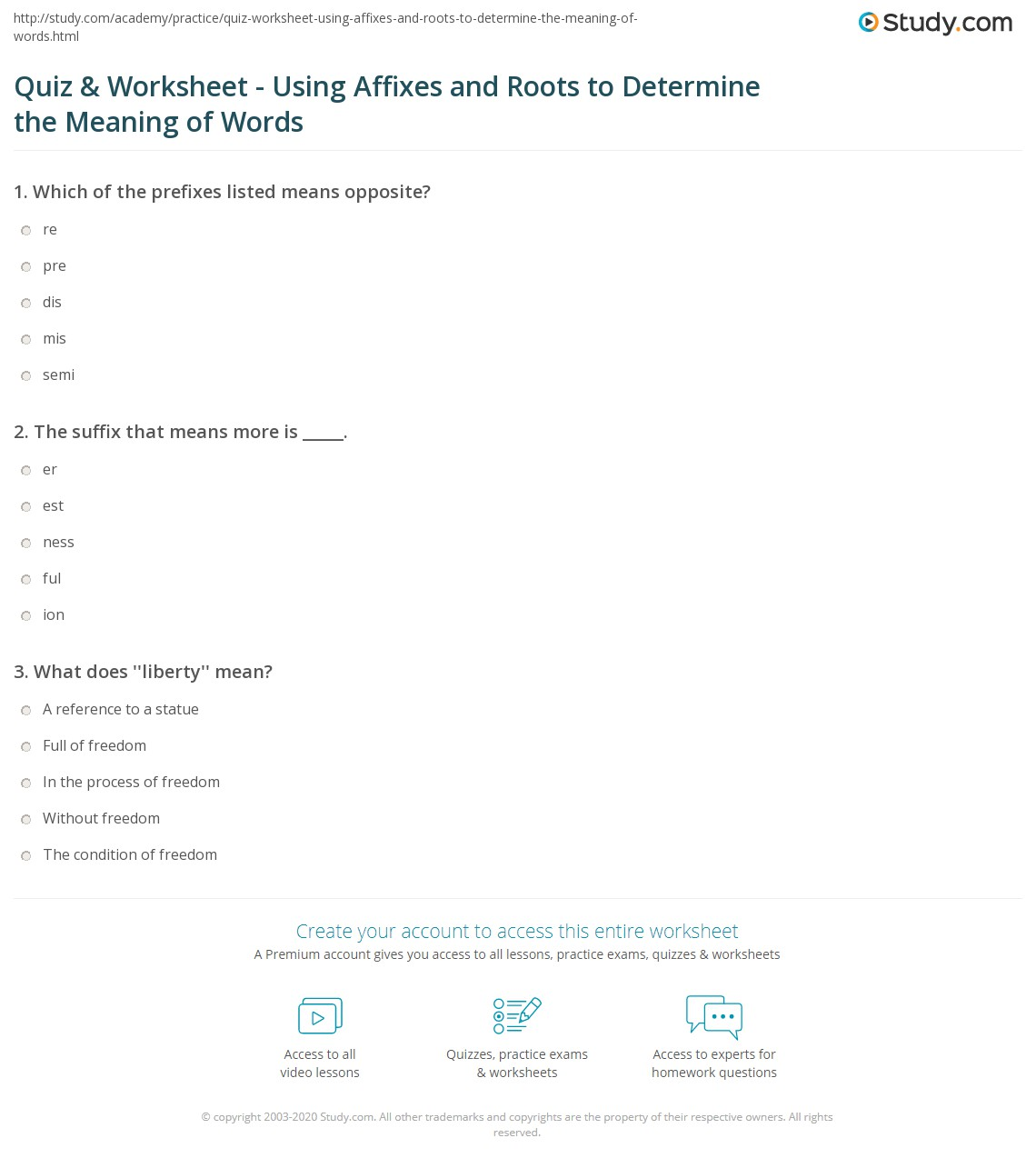 hight resolution of Quiz \u0026 Worksheet - Using Affixes and Roots to Determine the Meaning of Words    Study.com