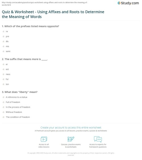 small resolution of Quiz \u0026 Worksheet - Using Affixes and Roots to Determine the Meaning of Words    Study.com