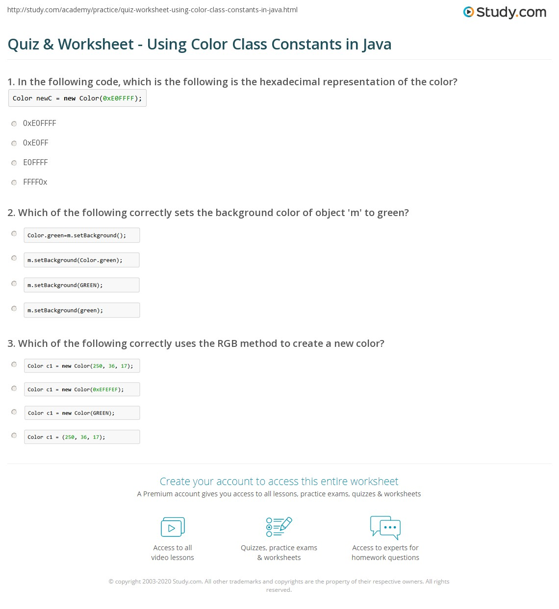 Java Classes Worksheet