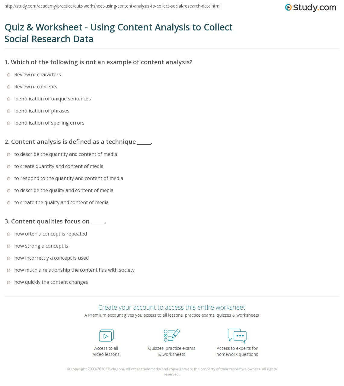 Quiz & Worksheet Using Content Analysis To Collect Social Research