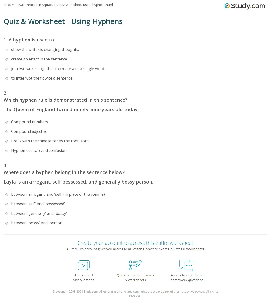 hight resolution of Quiz \u0026 Worksheet - Using Hyphens   Study.com