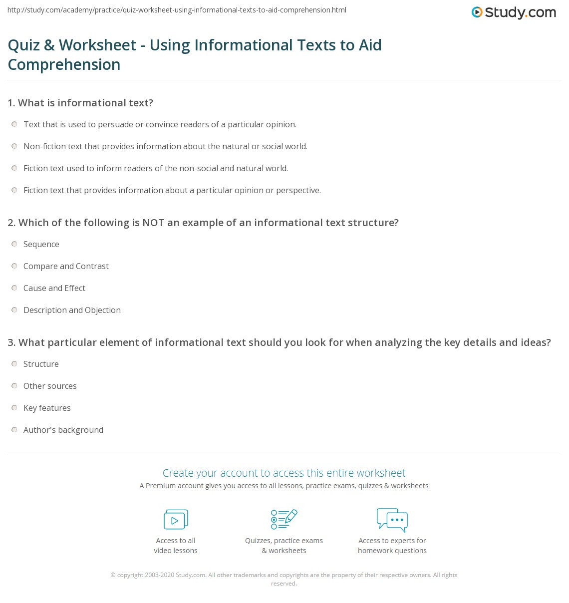 Quiz W Ksheet Us G M Ti L Texts To Id Prehensi