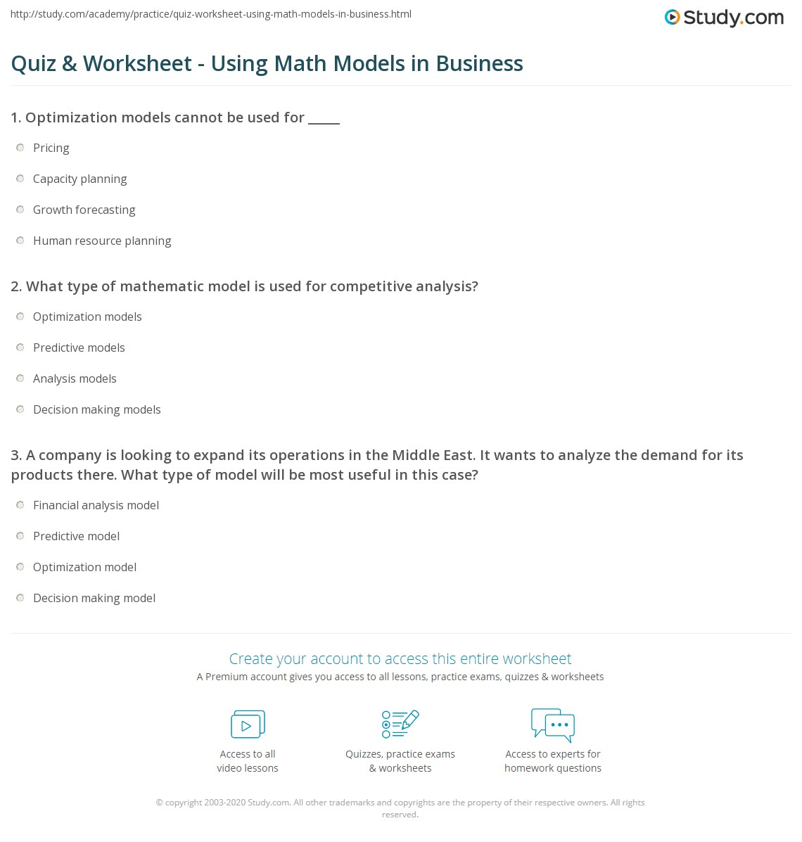 hight resolution of Quiz \u0026 Worksheet - Using Math Models in Business   Study.com