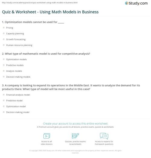 small resolution of Quiz \u0026 Worksheet - Using Math Models in Business   Study.com