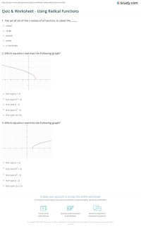 Quiz & Worksheet - Using Radical Functions | Study.com