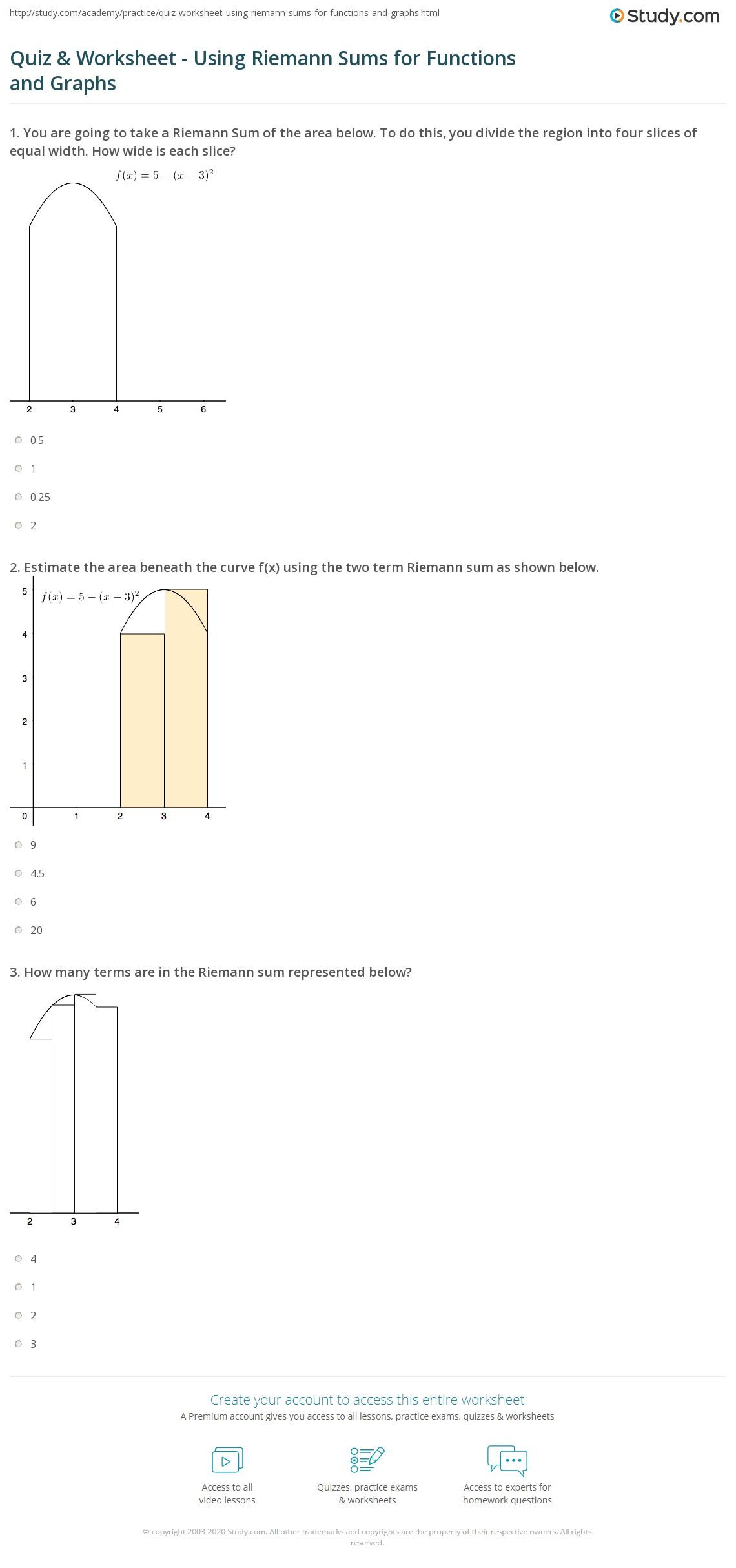 Quiz W Ksheet Us G Riem Nn Sums Functi S Nd Gr Phs