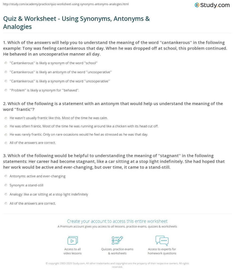 medium resolution of Quiz \u0026 Worksheet - Using Synonyms