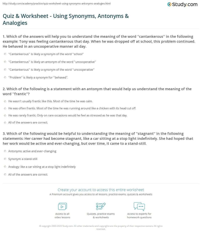 hight resolution of Quiz \u0026 Worksheet - Using Synonyms