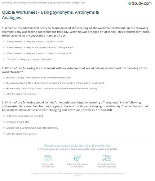 small resolution of Quiz \u0026 Worksheet - Using Synonyms