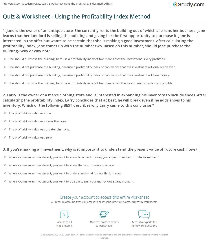 Using An Index Worksheet