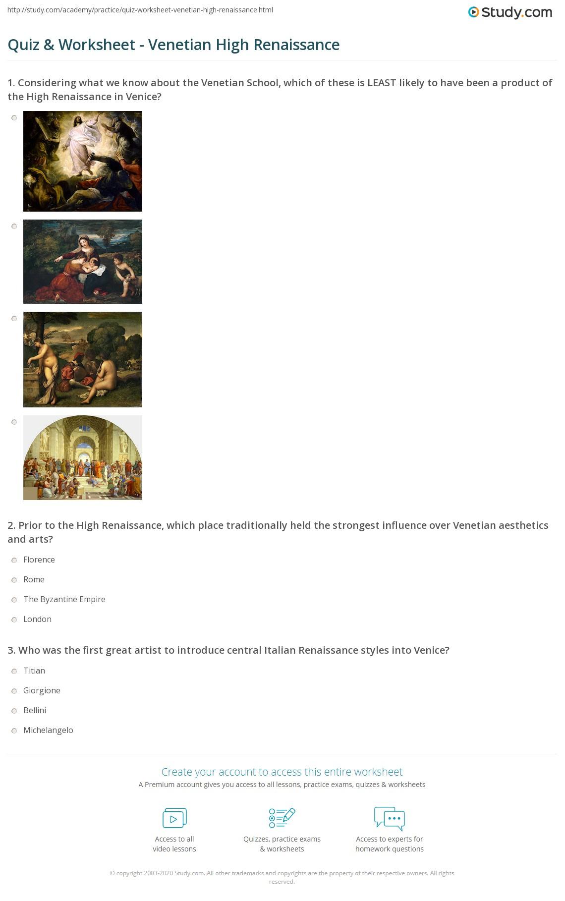 The Renaissance Worksheet