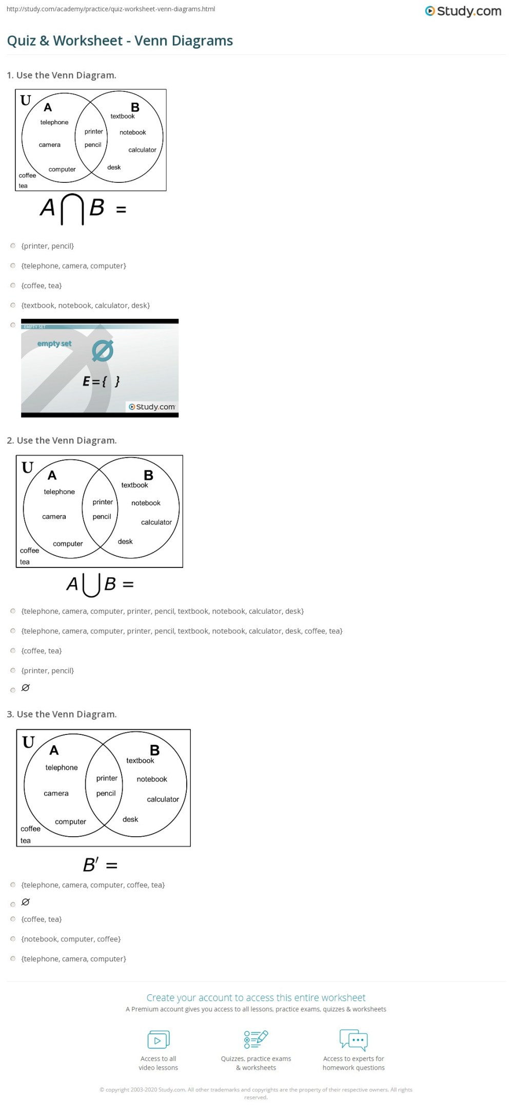 medium resolution of print venn diagrams subset disjoint overlap intersection union worksheet