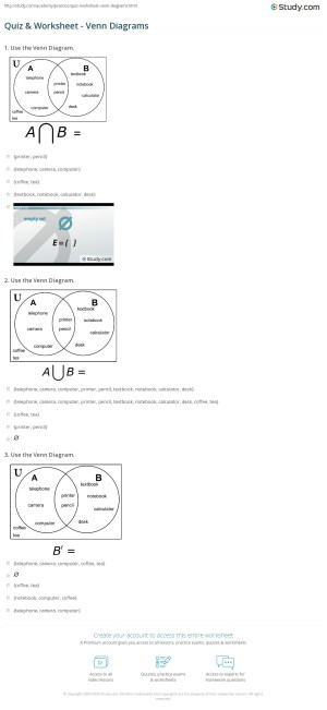 Quiz & Worksheet  Venn Diagrams | Study