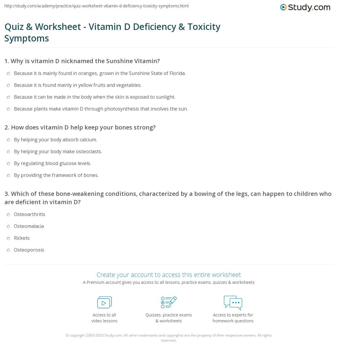 Vitamin Worksheet Basic