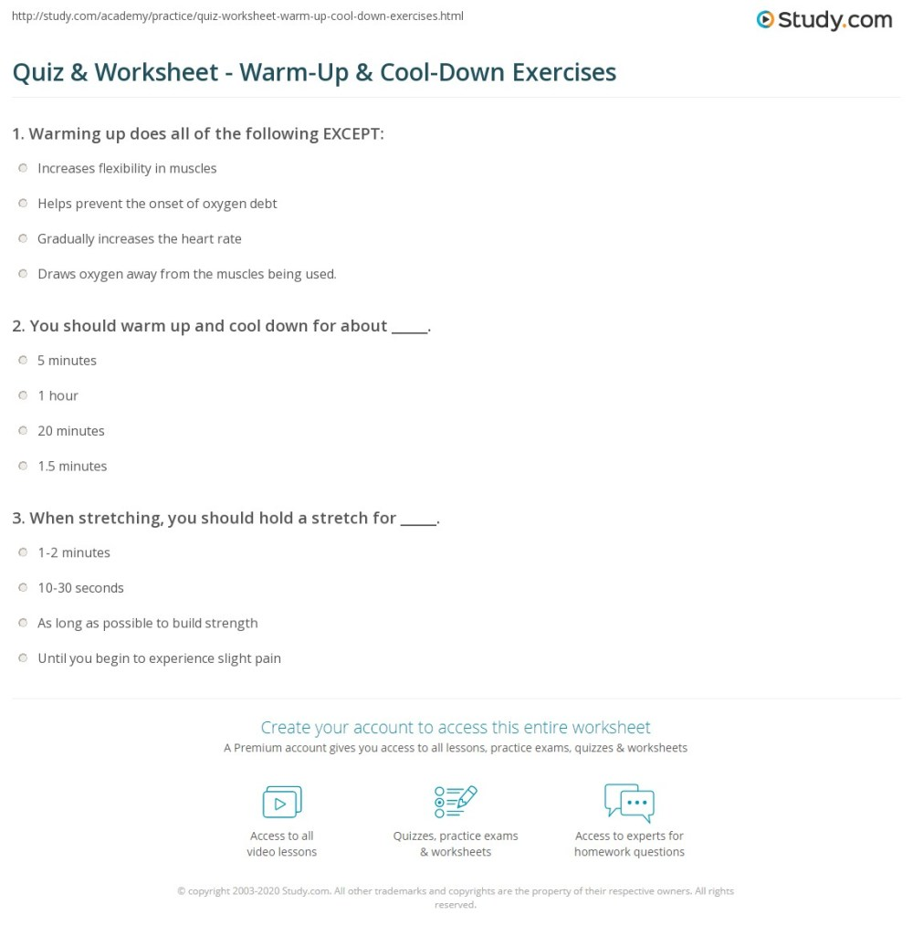 medium resolution of Quiz \u0026 Worksheet - Warm-Up \u0026 Cool-Down Exercises   Study.com