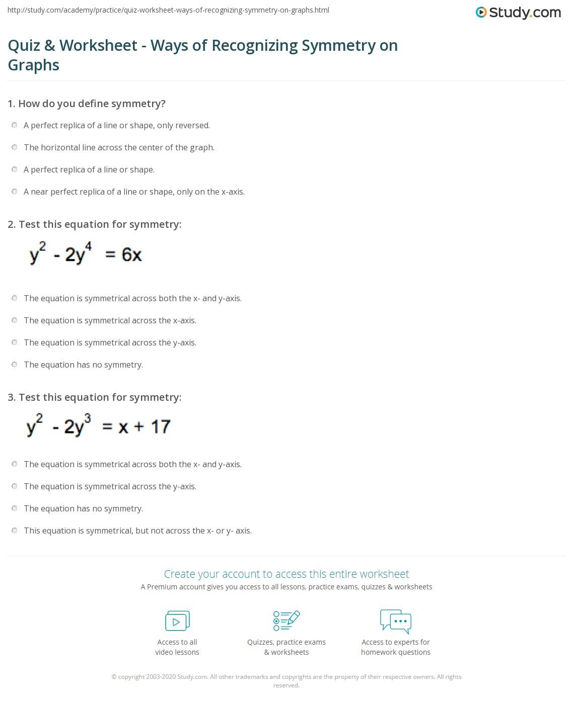 Equation Of Line Symmetry