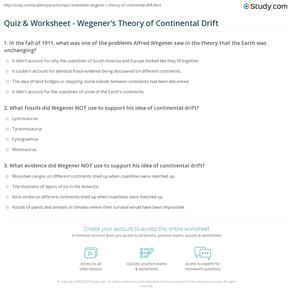 Printables Of 9 1 Continental Drift Worksheet Answers