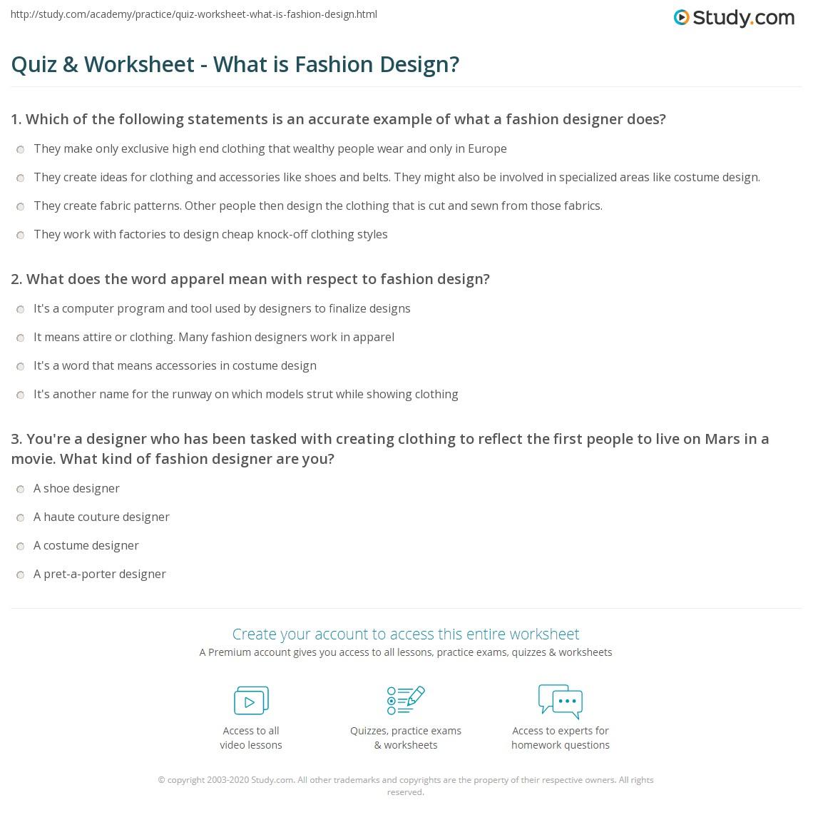Fashion Design Worksheet