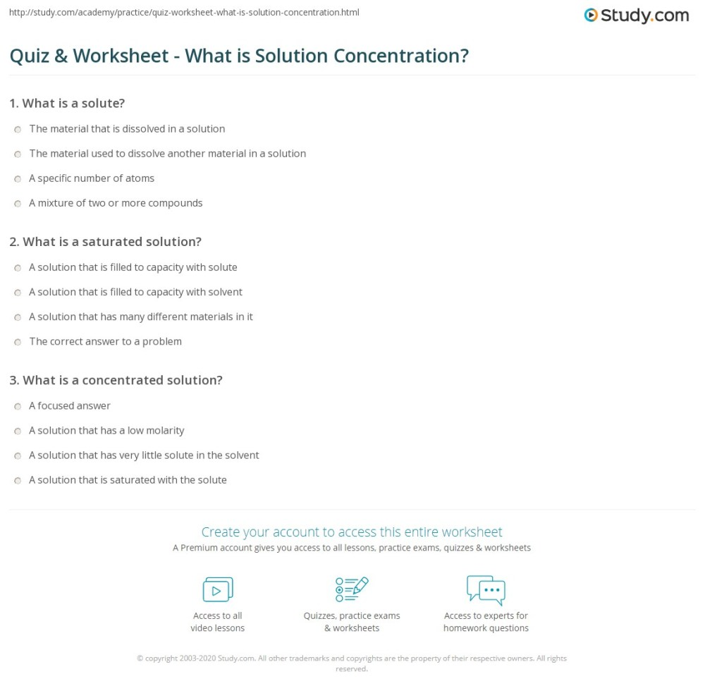 medium resolution of Quiz \u0026 Worksheet - What is Solution Concentration?   Study.com