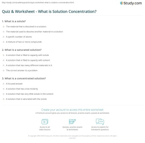 small resolution of Quiz \u0026 Worksheet - What is Solution Concentration?   Study.com