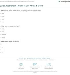 Quiz \u0026 Worksheet - When to Use Affect \u0026 Effect   Study.com [ 1169 x 1140 Pixel ]