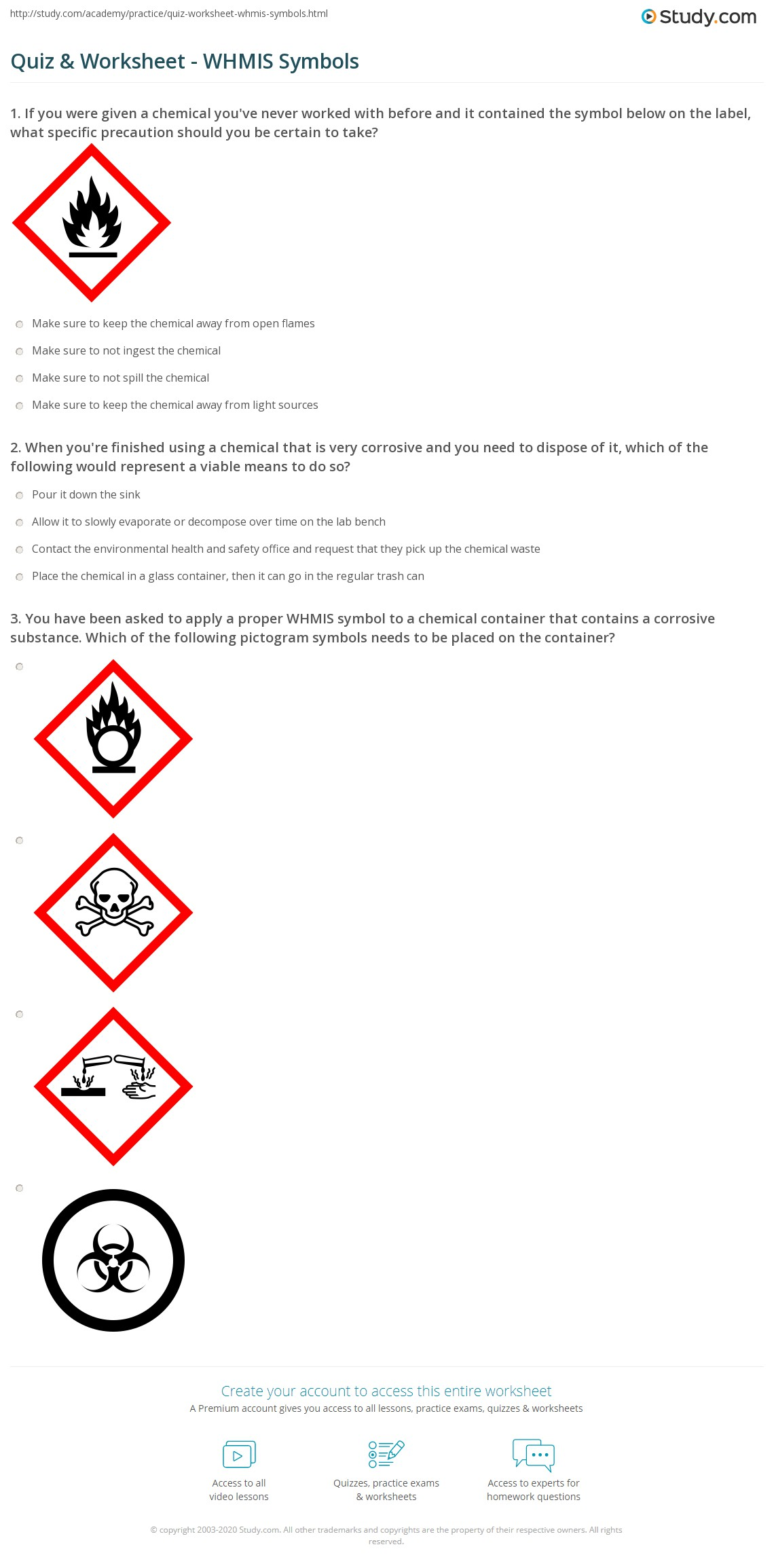 Hazard Safety Symbols Worksheet