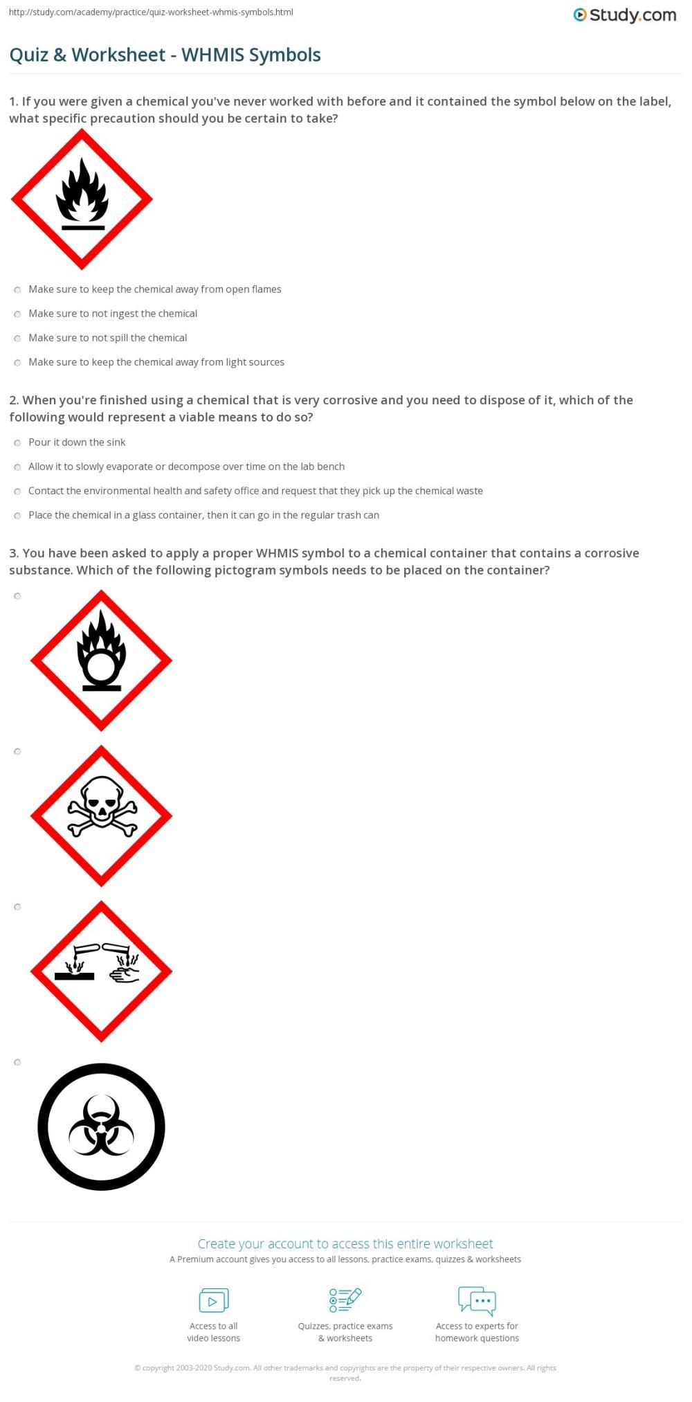 medium resolution of Quiz \u0026 Worksheet - WHMIS Symbols   Study.com