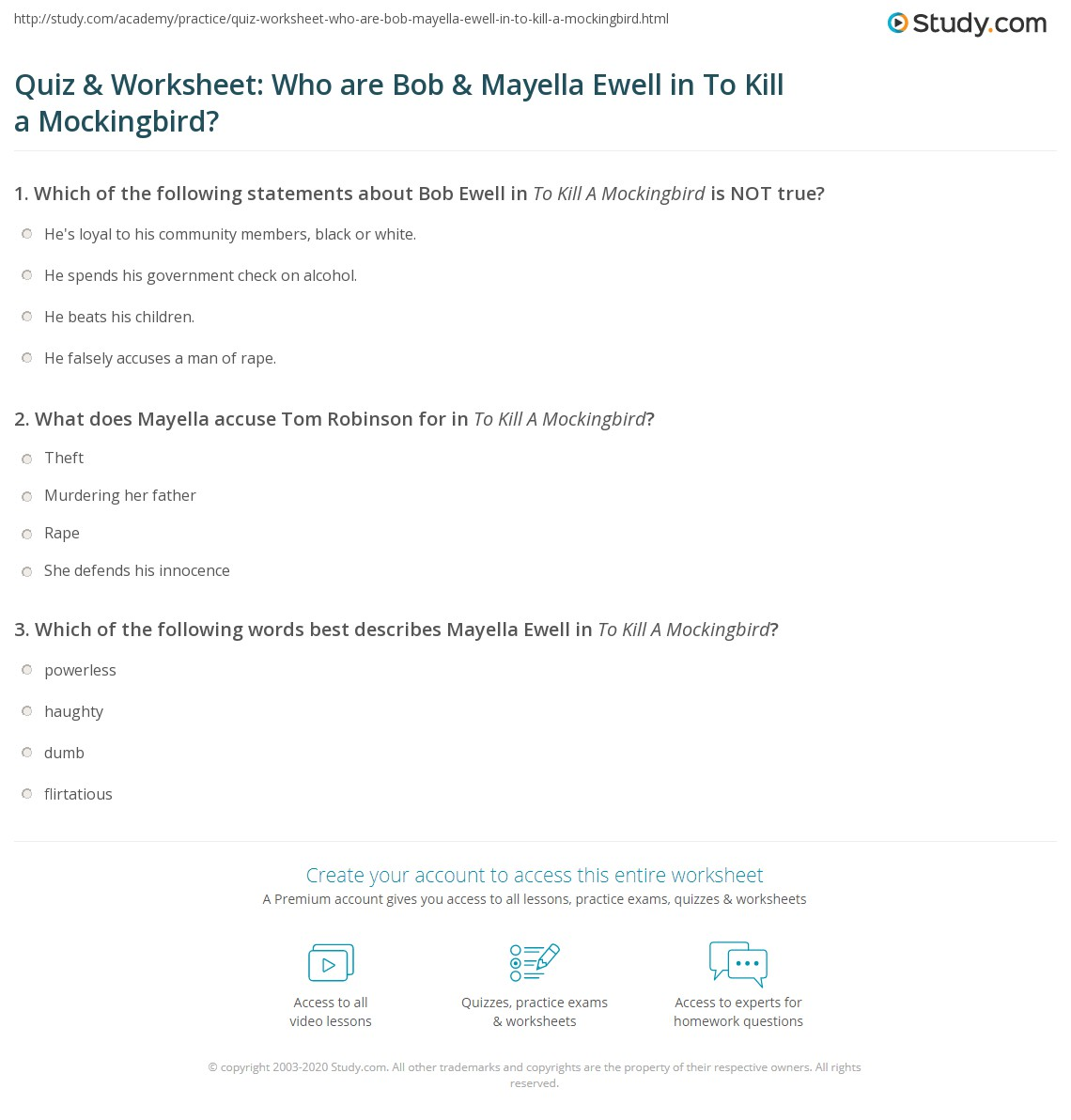 Quiz Amp Worksheet Who Are Bob Amp Mayella Ewell In To Kill A