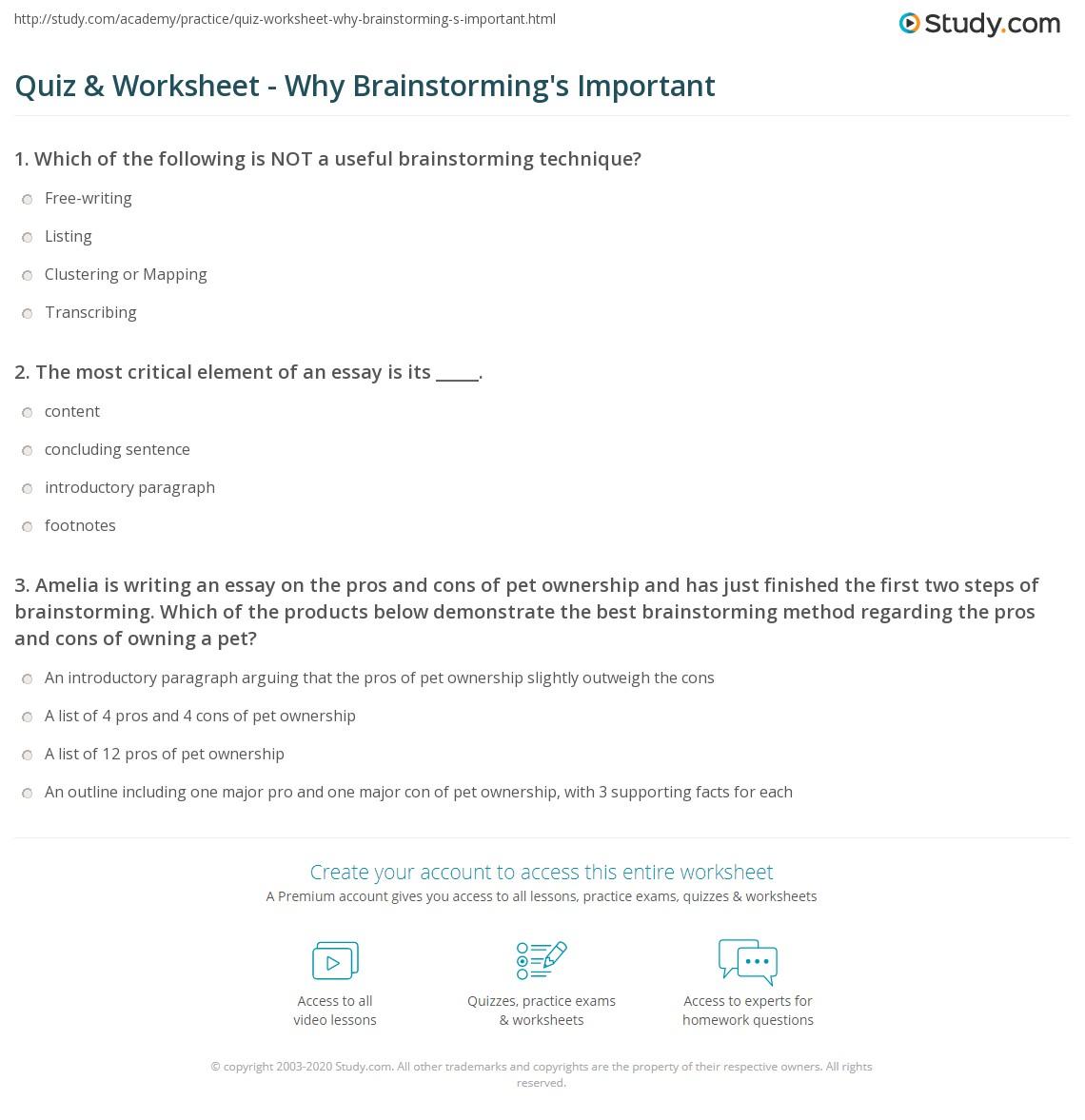 Essay Brainstorming