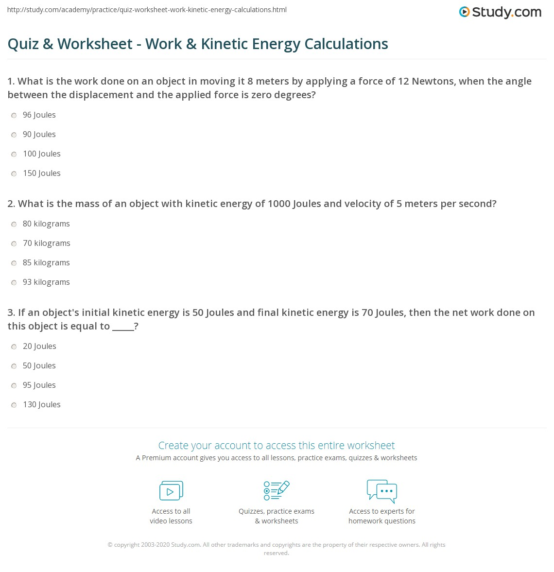 Printables Of Worksheet On Energy Calculations