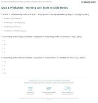 worksheet. Mole Ratios And Mole To Mole Conversions ...