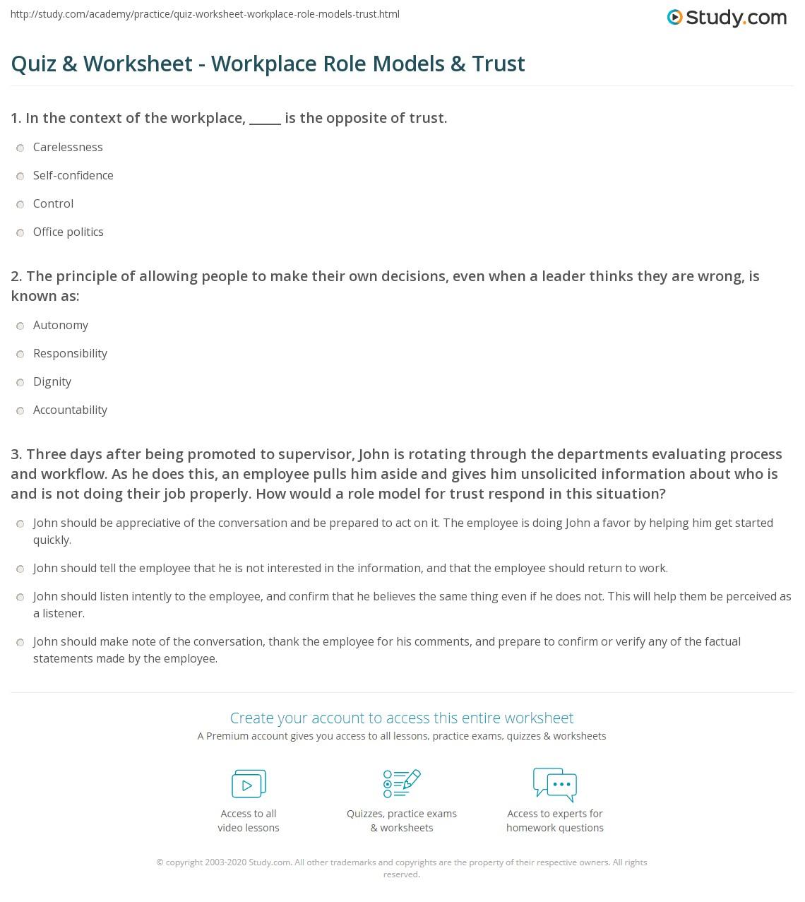 Model Worksheet