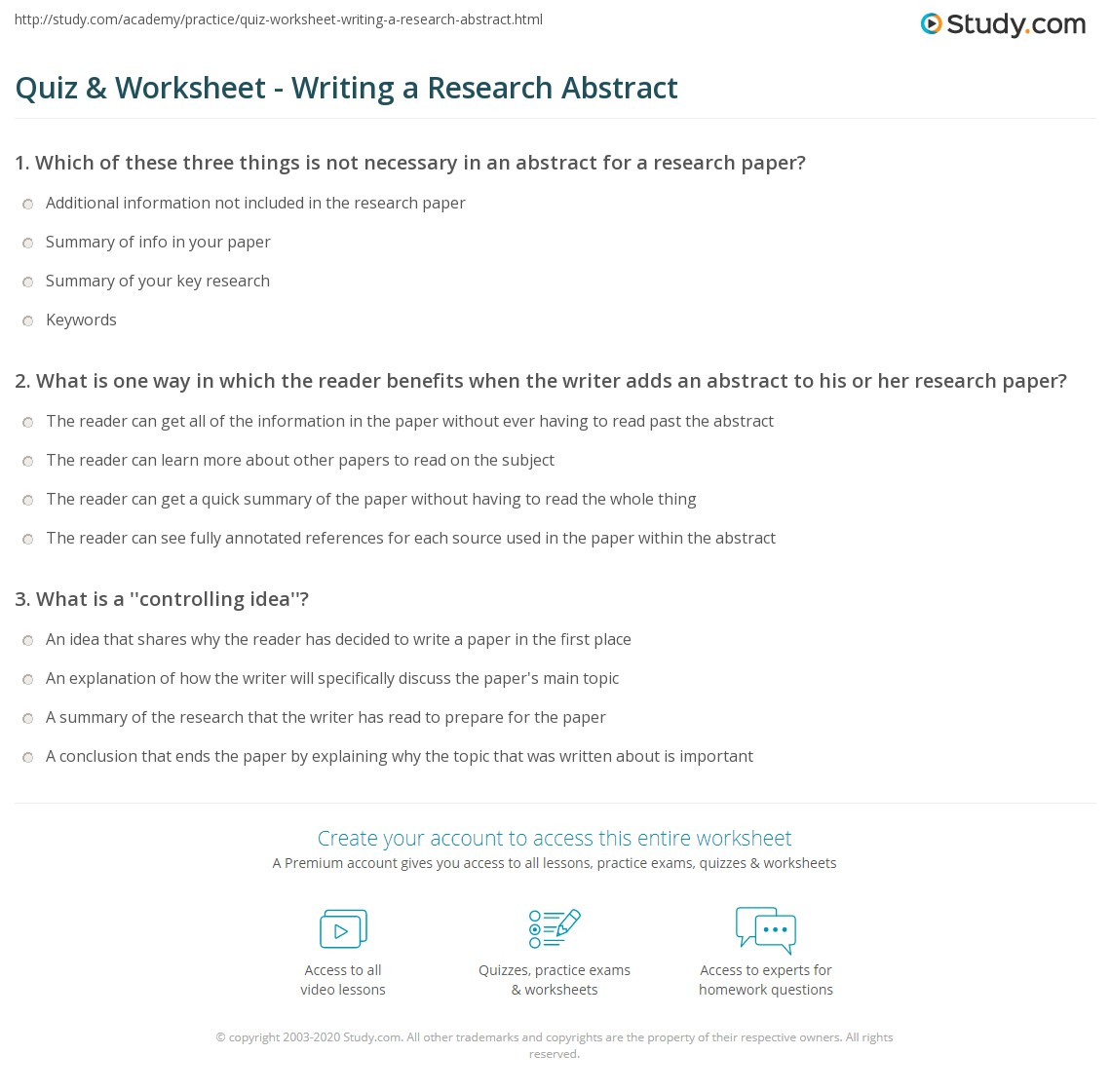 Quiz & Worksheet Writing A Research Abstract Study Com
