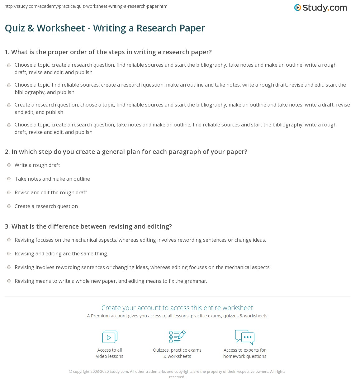 Quiz & Worksheet Writing A Research Paper Study Com