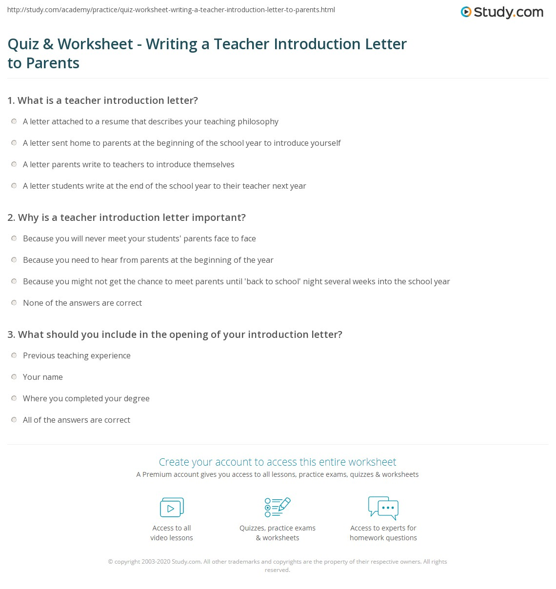 Introduction Worksheet For Students