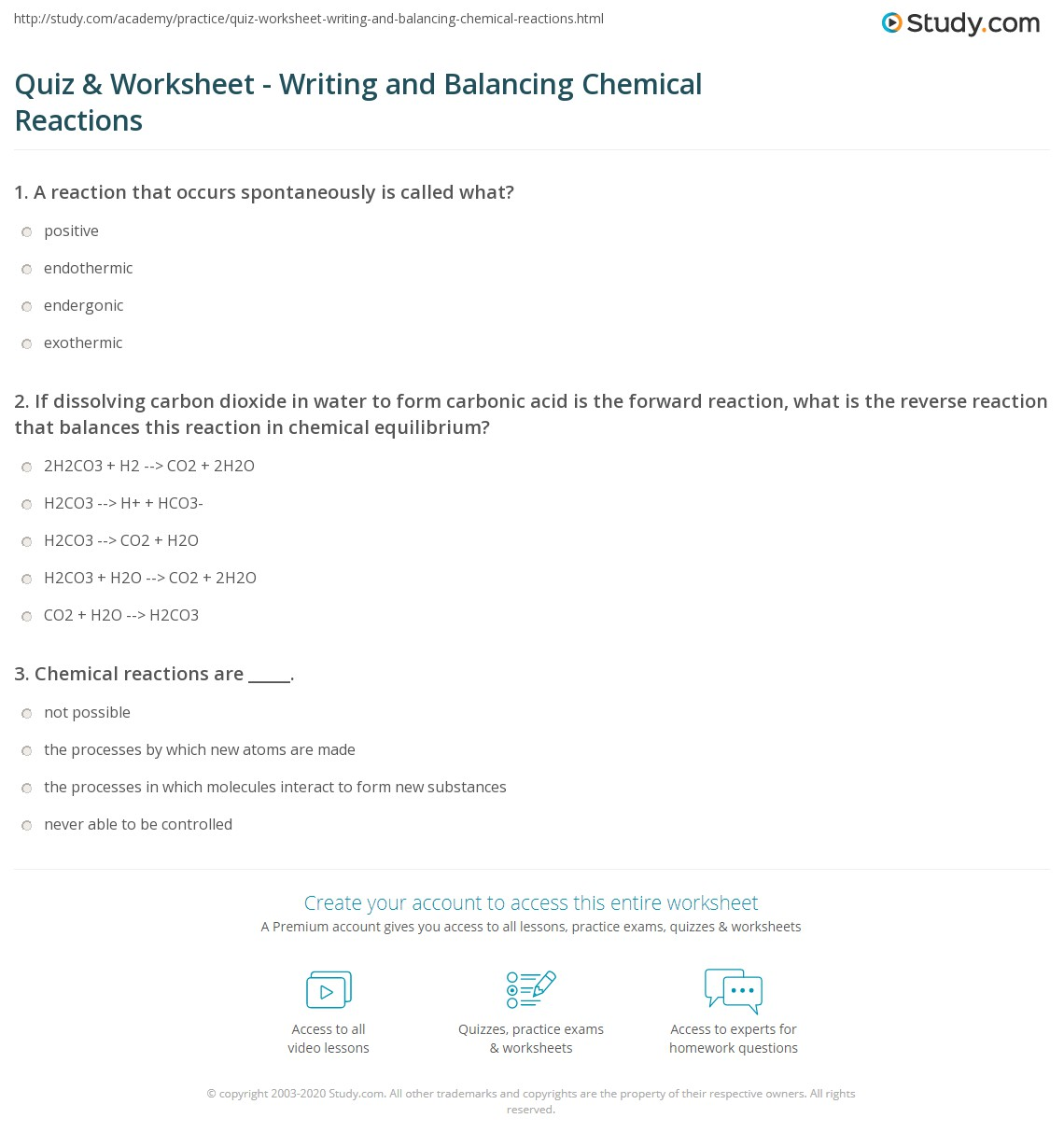 Worksheet Six Types Of Chemical Reactions Worksheet