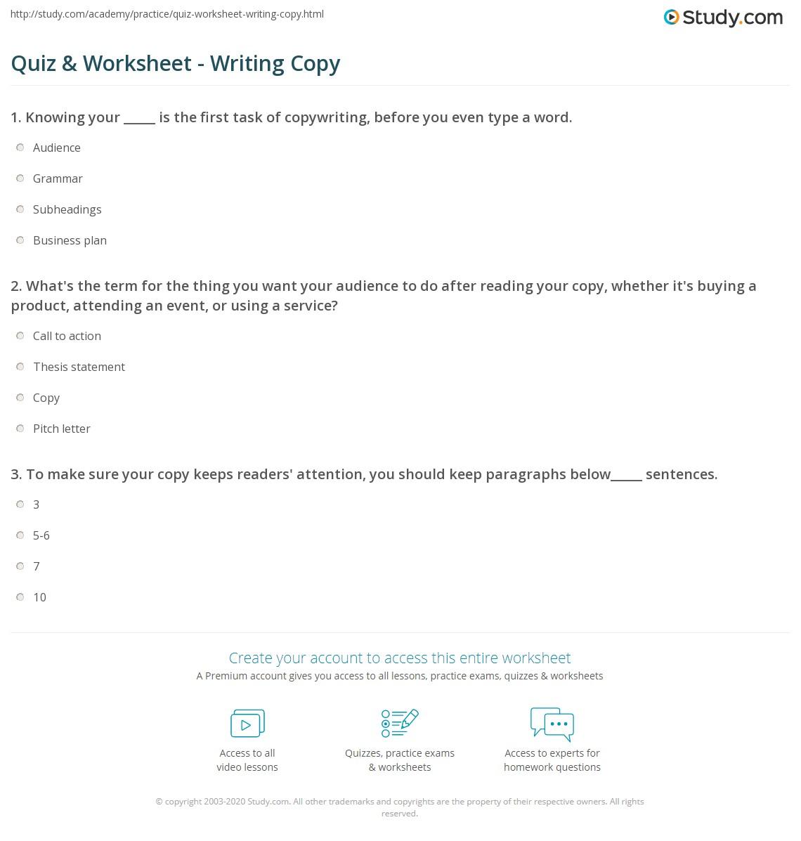 Writing Worksheet Copy