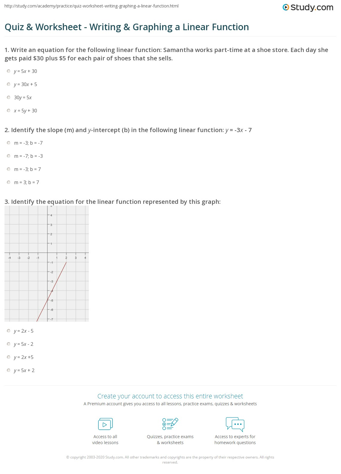 Graphing Linear Equations With Tables Worksheet