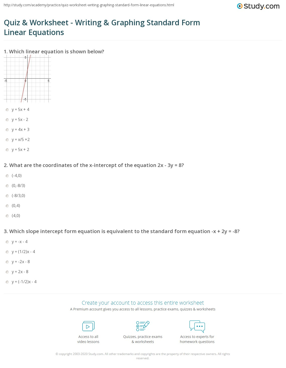 Converting To Slope Intercept Form And Graphing Worksheet
