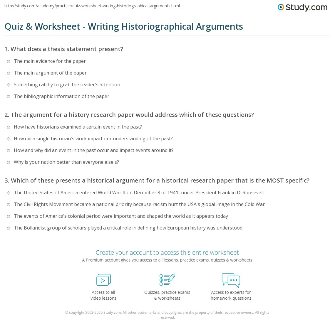 Quiz & Worksheet Writing Historiographical Arguments Study Com