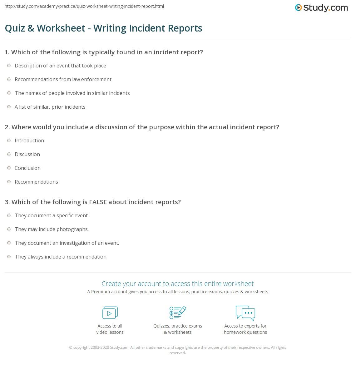 Write Incident Report Example