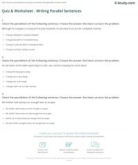 Quiz & Worksheet - Writing Parallel Sentences   Study.com