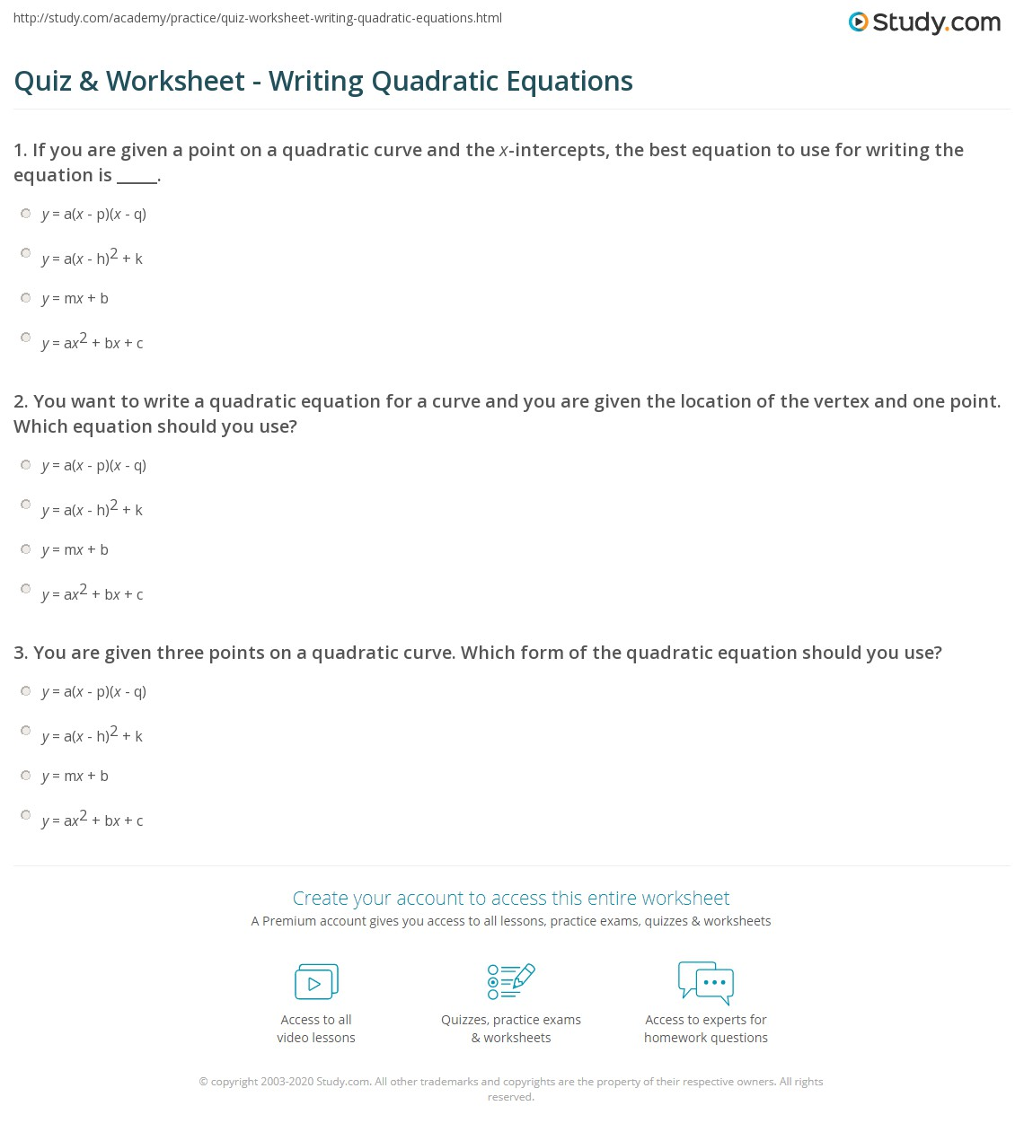 Quadratic Equation Practice Worksheet