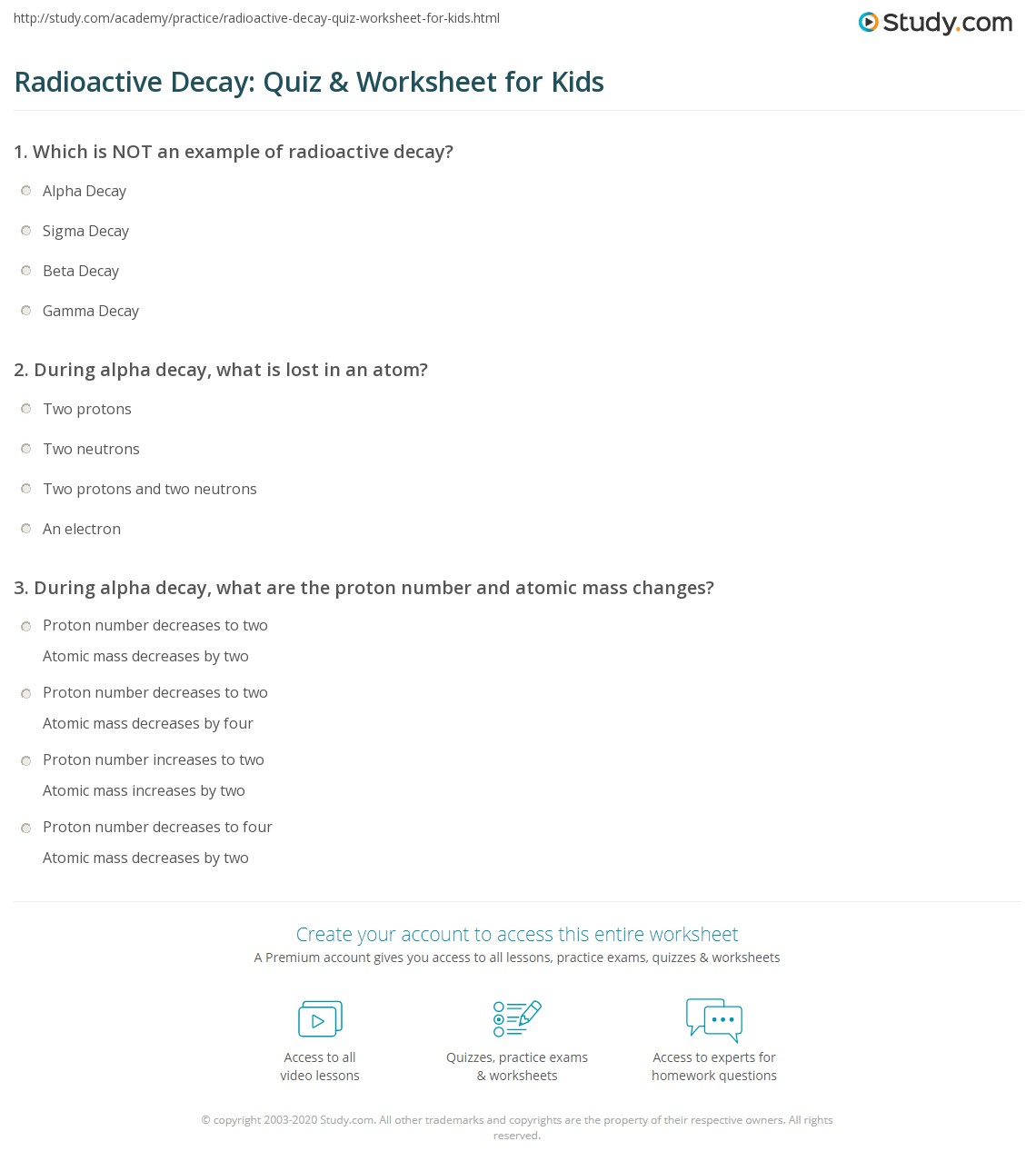 Radioactive Decay Quiz Amp Worksheet For Kids