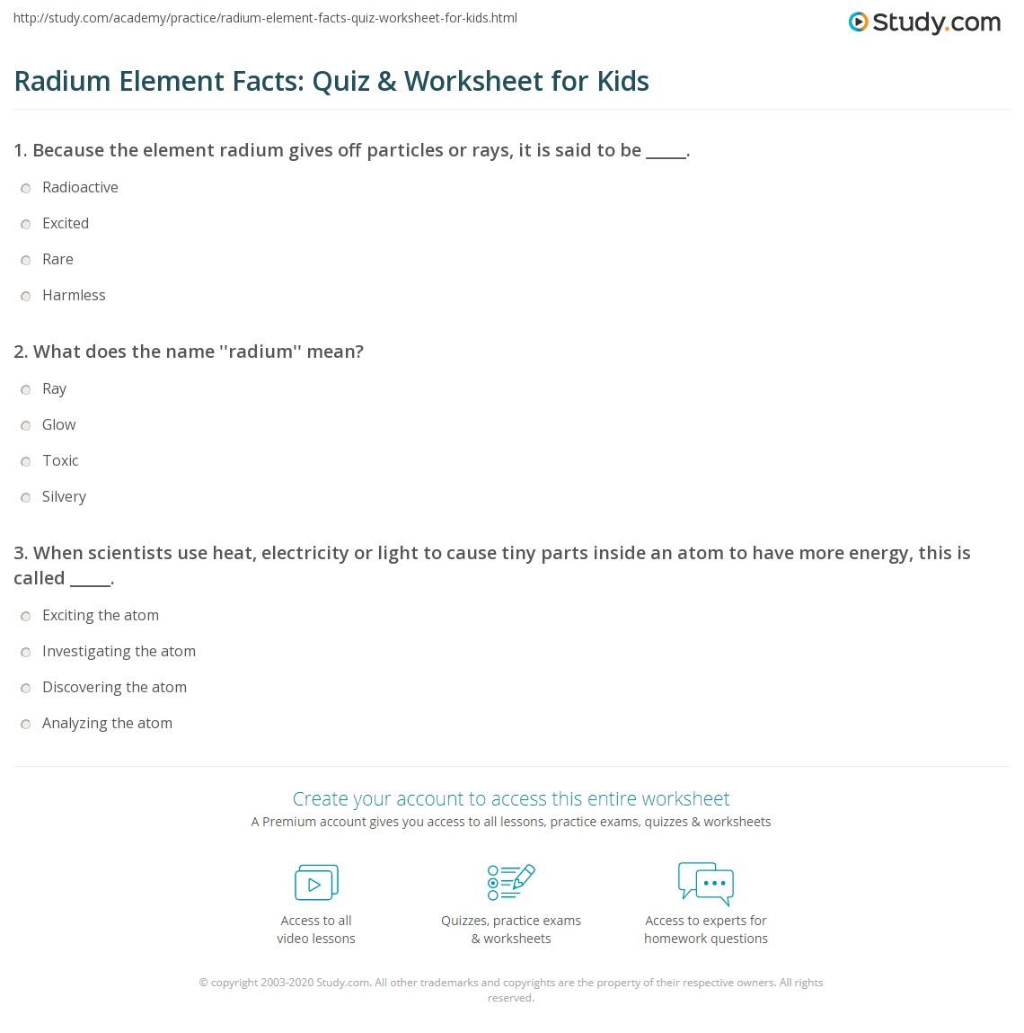 Radium Element Facts Quiz Amp Worksheet For Kids