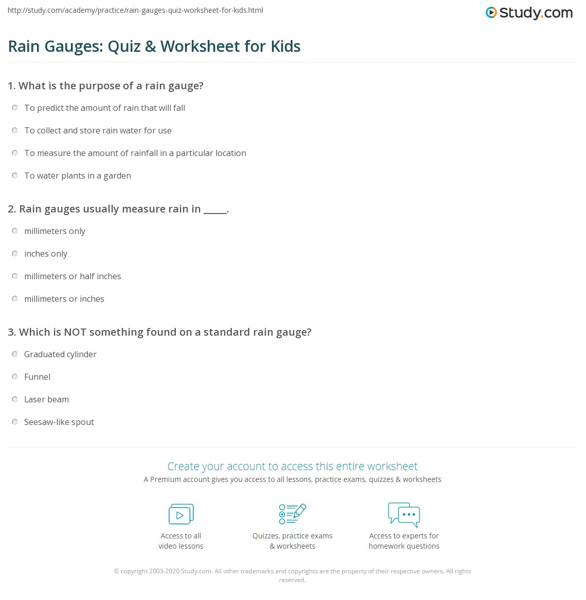 Rain Gauges Quiz Amp Worksheet For Kids